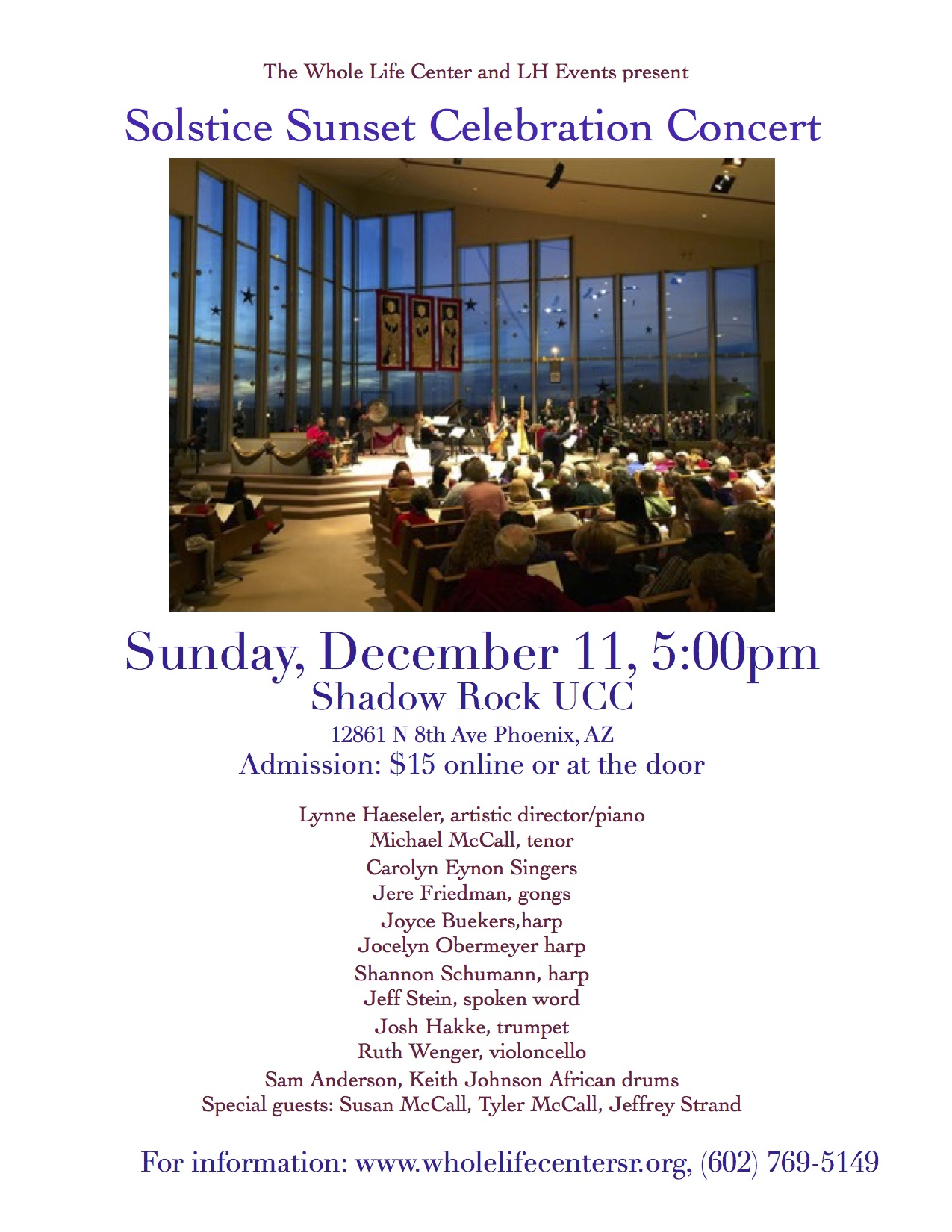 Solstice Celebration Concert @ Shadow Rock UCC